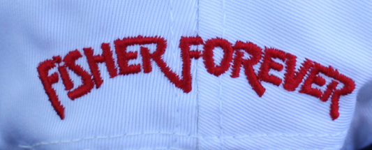 Fisher Forever word mark on the back of the caps